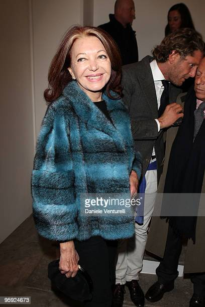 Bedy Moratti attends the Jorg Immendorff show at the Cardi Black Box Gallery on January 21 2010 in Milan Italy