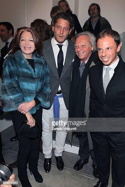 Bedy Moratti Lapo Elkann Renato Cardi and Nicolo Cardi attends the Jorg Immendorff show at the Cardi Black Box Gallery on January 21 2010 in Milan...