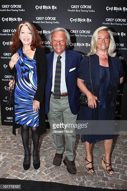 Bedy Moratti Renato Cardi and Anna Cardi attend the Mattia Bonetti opening exhibition at Cardi Black Box on June 7 2010 in Milan Italy