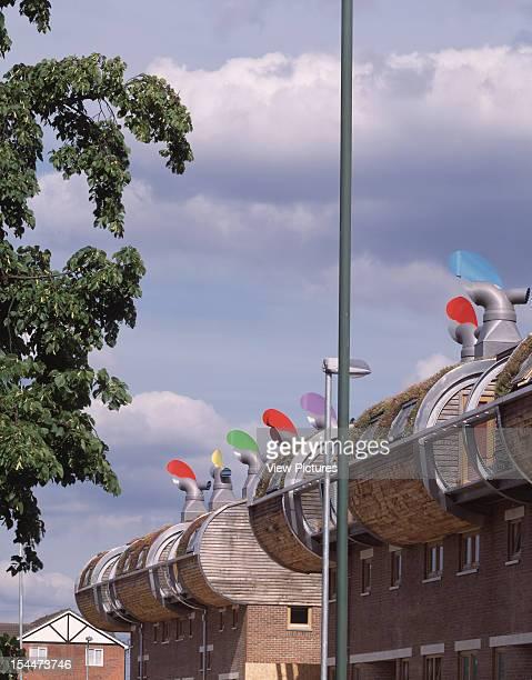 Bedzed [Beddington Zero Energy Development] Sutton United Kingdom Architect Bill Dunster Architects Bedzed North Facing Balconies With Sedum Planted...