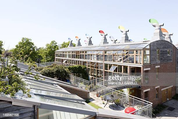 BedZED ecovillage Roof garden on May 26 2012 in London United Kingdom In BedZED is increased the Thermal efficiency through provision of gardens on...