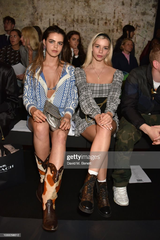 Bee Beardsworth (L) and Joanna Kuchta attend the Ashley Williams front row during London Fashion Week September 2018 at House of Vans on September 14, 2018 in London, England.