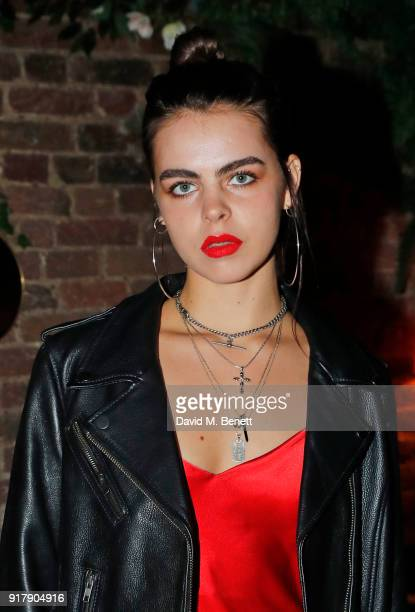 Bee Beardsworth attends a Valentine's dinner at The Living Room Champagne and Cocktail Bar by PerrierJouet at Restaurant Ours on February 13 2018 in...