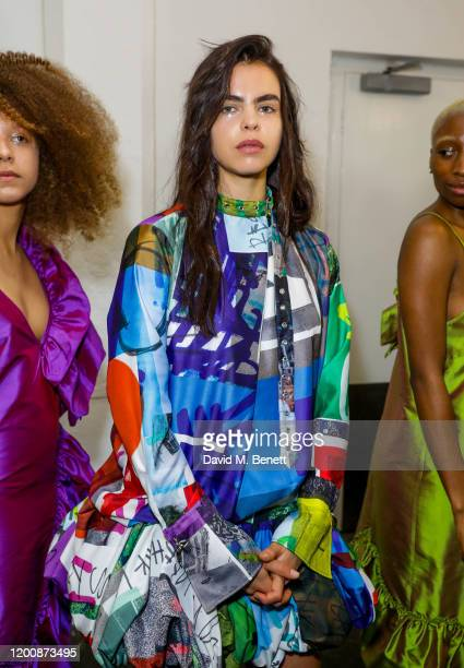 Bee Beardsworth attends the Marques'Almeida show during London Fashion Week February 2020 at The Old Truman Brewery on February 15 2020 in London...