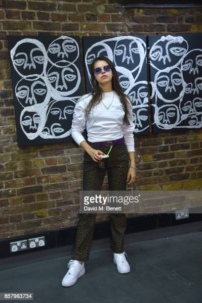 Bee Beardsworth attends the 'Something To Hate On' exhibition and popup launch on October 5 2017 in London England