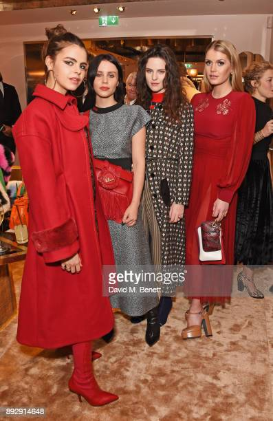 Bee Beardsworth, Billie JD Porter, Daisy Maybe and Lady Kitty Spencer attend the FENDI Sloane Street boutique opening on December 14, 2017 in London,...