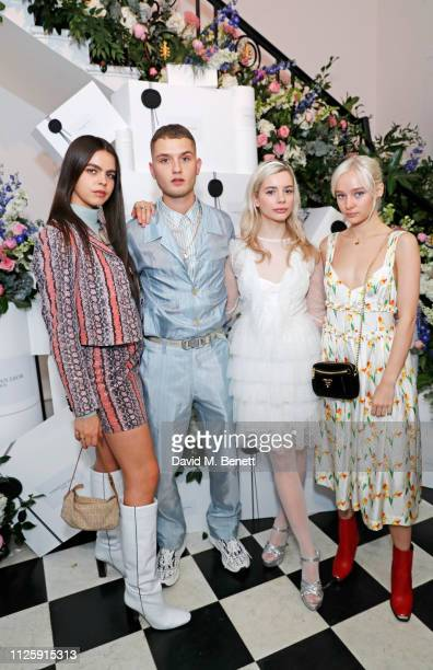 Bee Beardsworth Rafferty Law Joanna Kuchta and Maddi Waterhouse attend the Maison Christian Dior London cocktail party on February 19 2019 in London...