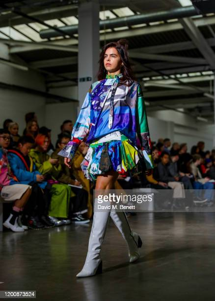 Bee Beardsworth walks the Marques'Almeida show during London Fashion Week February 2020 at The Old Truman Brewery on February 15 2020 in London...