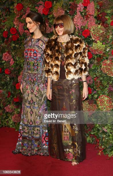 Bee Carrozzini and Dame Anna Wintour arrive at The 64th Evening Standard Theatre Awards at the Theatre Royal Drury Lane on November 18 2018 in London...