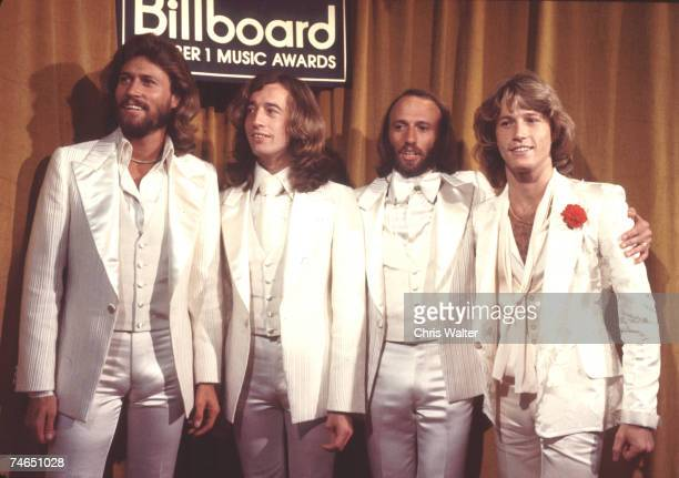 Bee Gees 1977 Barry Gibb Robin Gibb Maurice Gibb and Andy Gibb ay Billboard Music Awards in Los Angeles California