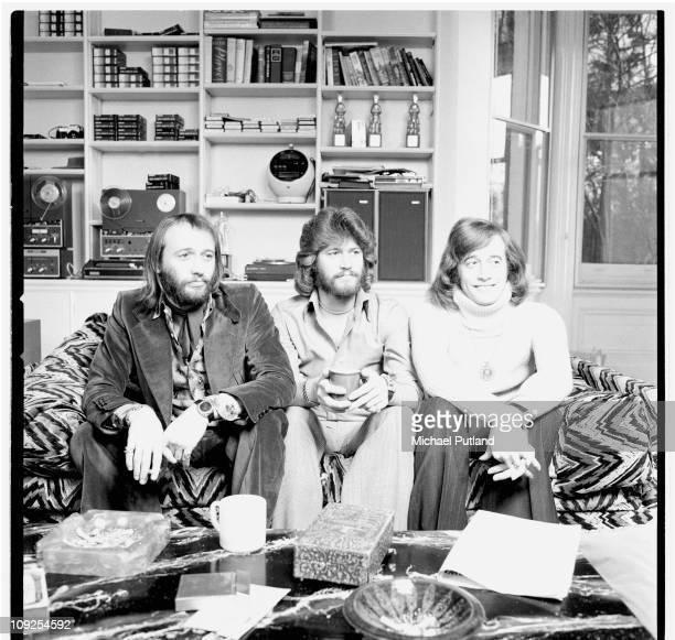 Bee Gees group portrait Windsor UK LR Maurice Gibb Barry Gibb Robin Gibb