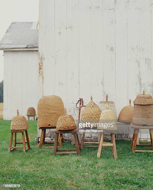 Bee hives placed on wooden stools.