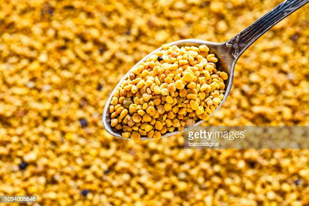 Bee pollen on a metal spoon shot from above