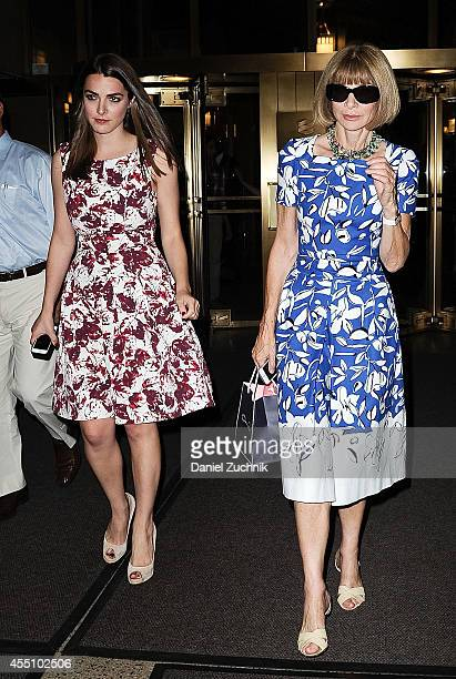 Bee Schaffer and Anna Wintour are seen outside the Oscar de la Renta show on September 9 2014 in New York City