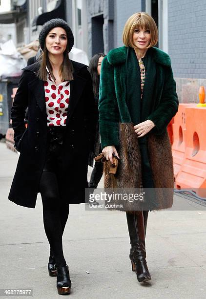 Bee Shaffer and Anna Wintour are seen outside the Diane Von Furstenberg show on February 9 2014 in New York City