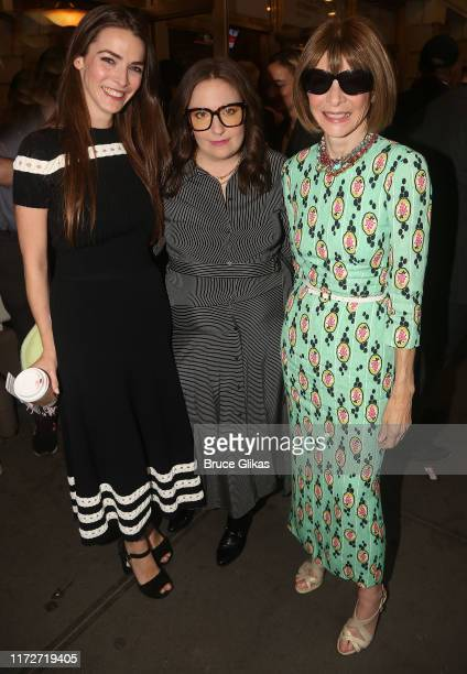 """Bee Shaffer Carrozzini, Lena Dunham and Anna Wintour pose at The Opening Night of """"Betrayal"""" on Broadway at The Jacobs Theatre on September 5, 2019..."""