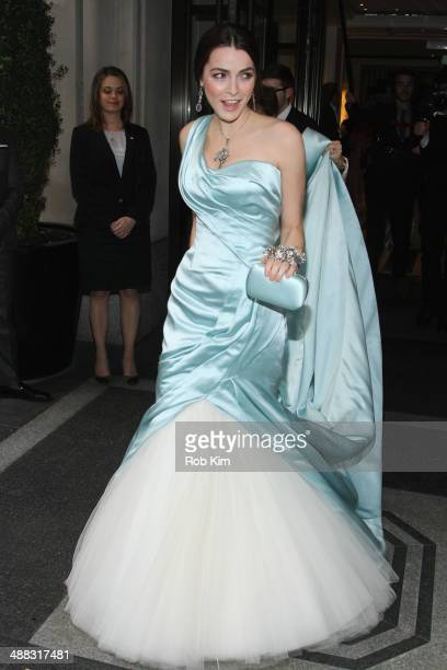 Bee Shaffer departs the Mark Hotel for the Costume Institute Gala at the Metropolitan Museum of Art on May 5 2014 in New York City