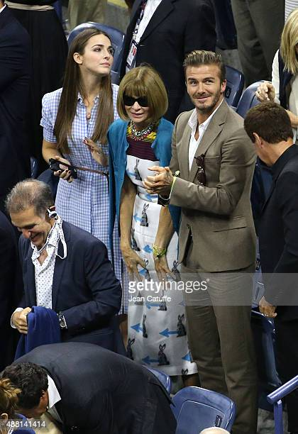 Bee Shaffer, her mother Anna Wintour and David Beckham attend the Men's Final on day fourteen of the 2015 US Open at USTA Billie Jean King National...