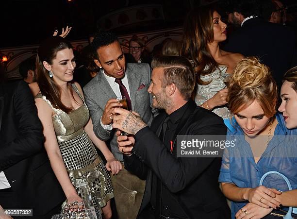 Bee Shaffer Lewis Hamilton David Beckham Nicole Scherzinger Suki Waterhouse and Immy Waterhouse attend the British Fashion Awards at the London...
