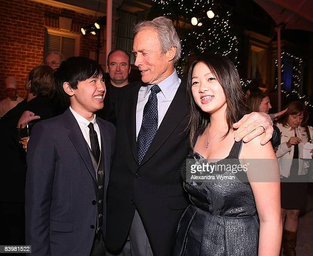 Bee Vang Clint Eastwood and Ahney Her arrive at the AfterParty for The Los Angeles premiere of Gran Torino at the Steven J Ross Theater at the Warner...