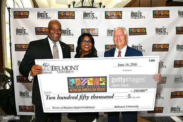 H Beecher Hicks III President/CEO National Museum of African American Music Recording Artist CeCe Winans and Dr Bob Fisher President Belmont...