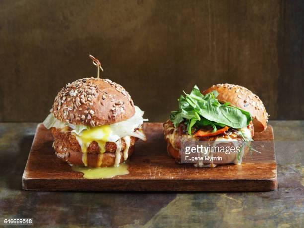 Beef and falafel burgers