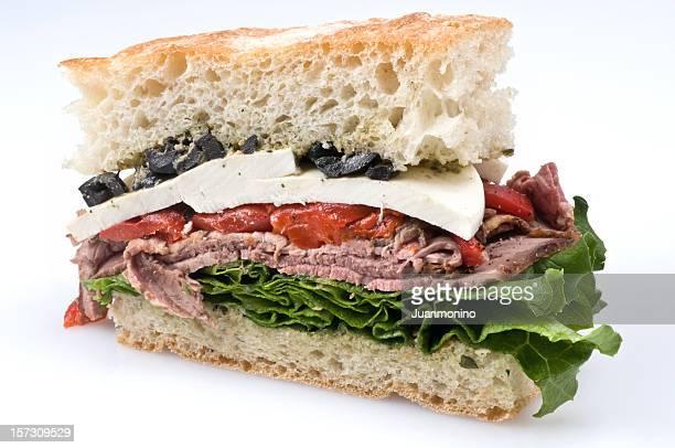 beef and mozarella ciabatta close up