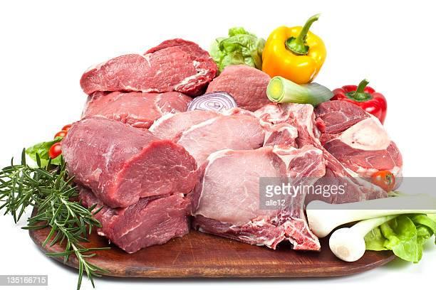 La viande de bœuf et du porc