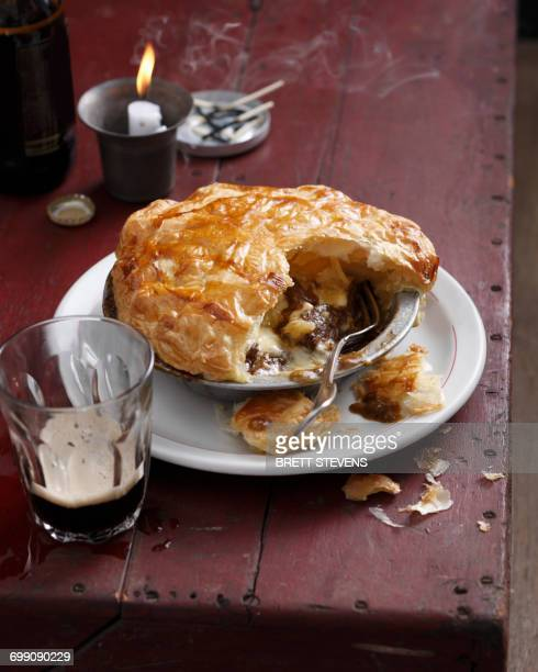 beef and stout pie - savoury food stock photos and pictures
