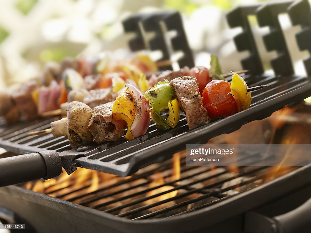 Beef and Vegetable Kabobs on a Outdoor BBQ : Stock Photo