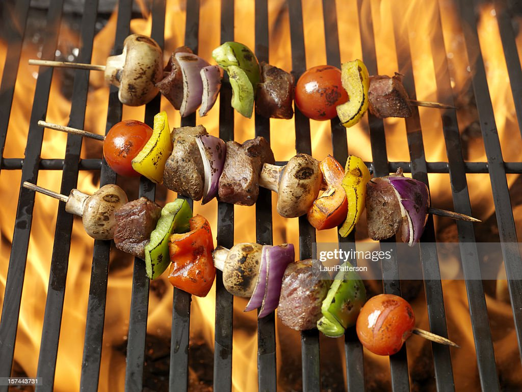 BBQ Beef and Vegetable Kabobs : Stock Photo