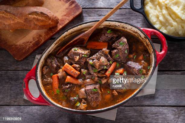 beef bourguignon - french food stock pictures, royalty-free photos & images