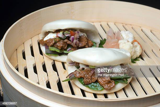 Beef buns with wasabi served at DC Noodles Restaurant in Washington DC on December 9 2013