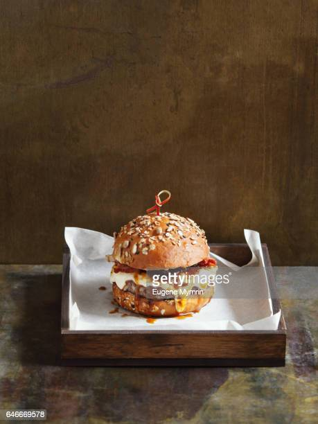 Beef burger with cheese and sauce