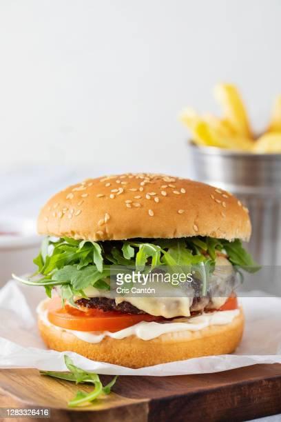 beef burger with fries - cris cantón photography fotografías e imágenes de stock