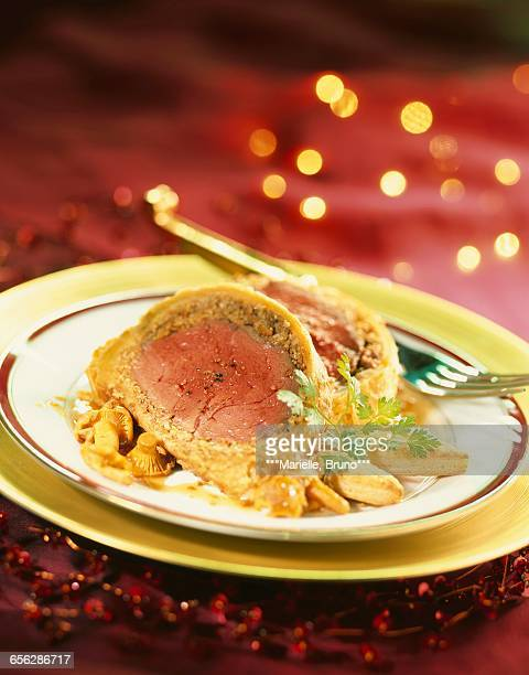 Beef fillet in pastry crust with mushrooms