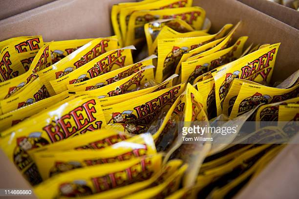 Beef jerky waits to be stuffed into care packages for overseas troops during an event held by the USO in Rayburn Building The event was to produce...