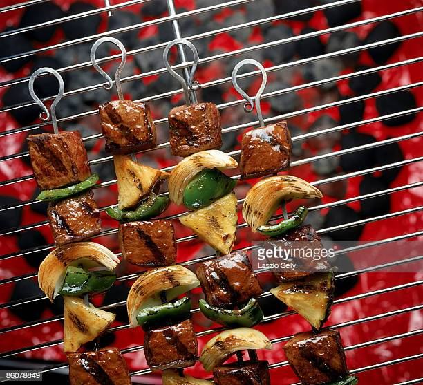 Beef kabobs on grill