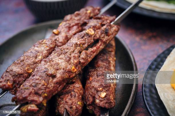 beef kebab with flatbread, vegetable and green salad - vegetable kebab stock pictures, royalty-free photos & images