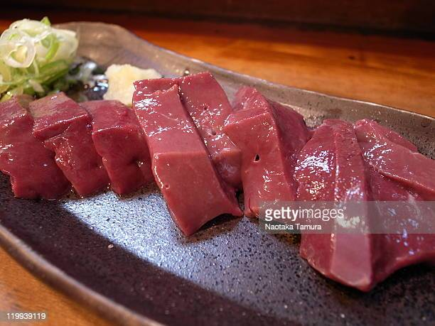 beef liver sashimi - animal internal organ stock photos and pictures
