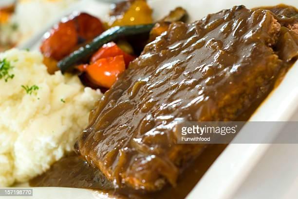 Beef Meat Loaf Dinner, Salisbury Steak & Gravy, Vegetables & Mashed Potatoes