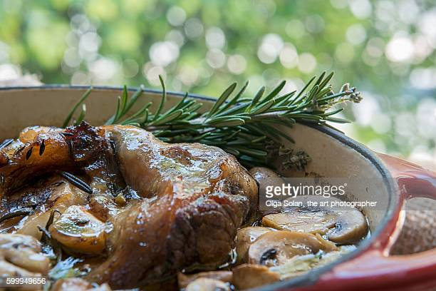Beef meat stew with mushrooms and spices.