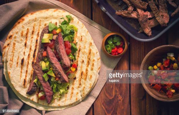 beef meat tacos - tortilla flatbread stock photos and pictures