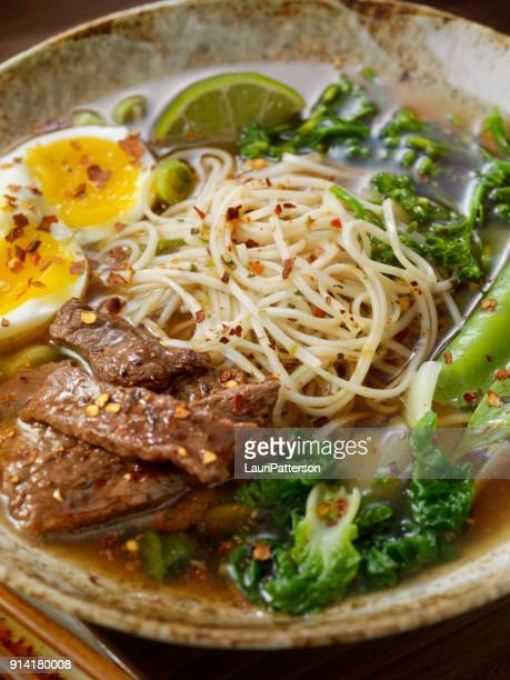 Beef Ramen Noodle and Vegetable Soup with A soft Boiled Egg