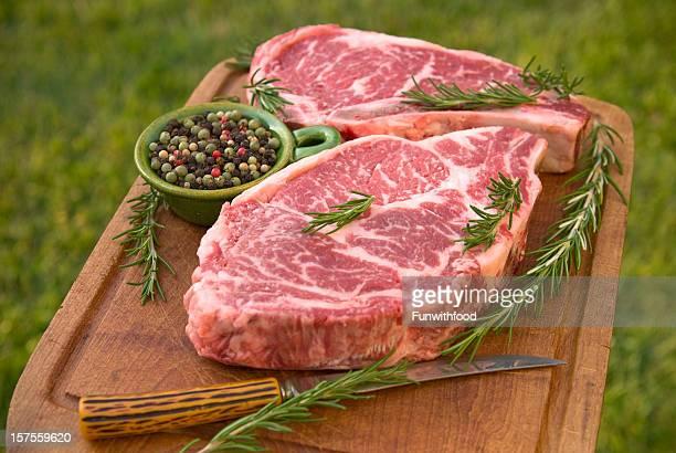 Beef Rib Eye Raw Meat Steak Cooking Dinner: Rosemary & Pepper