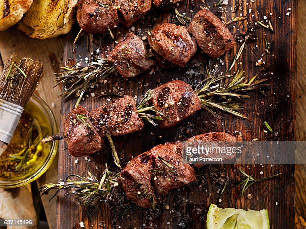 bbq beef rosemary skewers - meat stock pictures, royalty-free photos & images