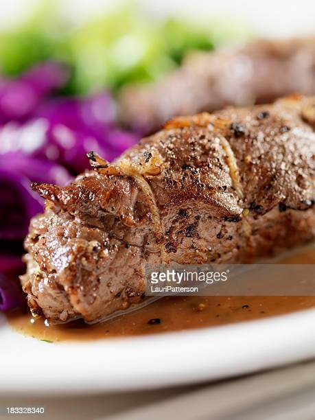 beef roulade with red cabbage - sliced pickles stock photos and pictures