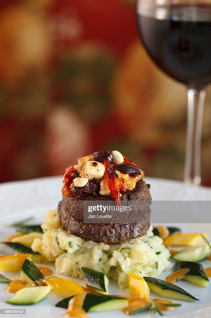 Beef steak at restaurant : Stock Photo