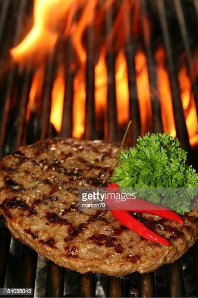 beef Steak, burger und Feuer