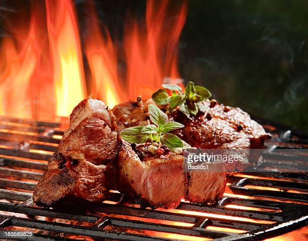 Beef steaks in the flames